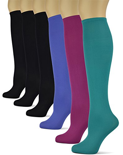 Silky Smooth Knee High Trouser Socks by Sox Trot | Thin Material | Made in USA (Solid Gems) 6 Pack