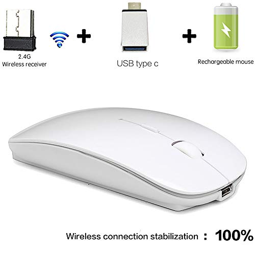 Wireless Mouse for MacBook pro Wireless Mouse for MacBook Rechargeable Wireless Mouse for Laptop MacBook pro MacBook Air MAC Wireless Mouse for Laptop Desktop Computer PC White