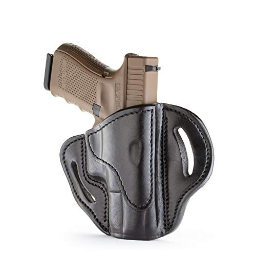 1791 GUNLEATHER Glock 19 Holster - Right Hand OWB G19 Leather Holster for Belts - Fits Glock 19, 23, 26, 27, H&K VP40 and Springfield XDS (BH2.1) (Polished Black)