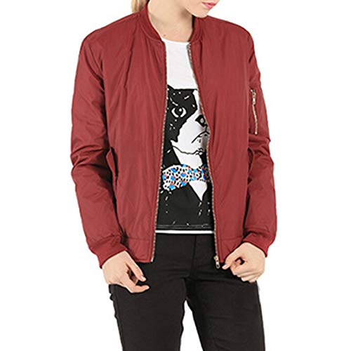 Holywin Inverno Bomber Alla Outwear Cappotto Cerniera Colletto Rosso Pieno Donne Solido Coreana x5IqIwrXZ
