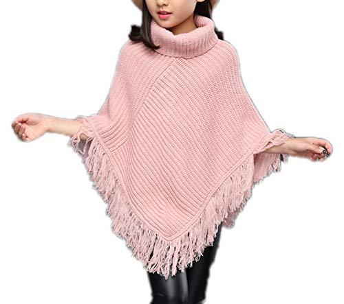 Sitmptol Girls Kids Fall Knitted Pullover Sweaters Poncho Tassel Turtleneck Cloak Cape (5-6 Years, - Poncho Kid Girls