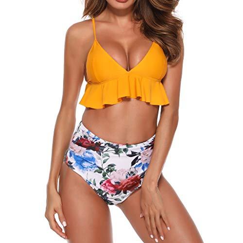 Qpika Women Fashion Slimming Monokini Bathing Suits Sexy Print Sling Split Bathing Swimsuit