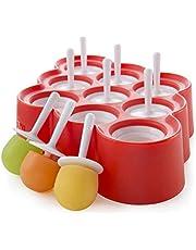 قوالب سيليكون صغيرة من 9 قطع قابلة لاعادة الاستخدام لتشكيل الايس كريم والمصاصة وشوكولاته الحلوى مزودة بعصا واجزاء واقية من التنقيط خالية من بيسفينول ايه يمكنك تشكيلها بنفسك