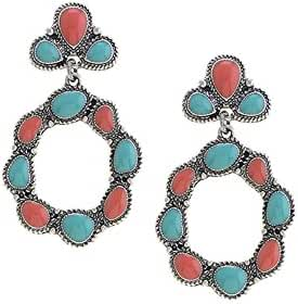 TRENDY FASHION JEWELRY ETCHED FAUX STONE HOOP DROP EARRINGS BY FASHION DESTINATION