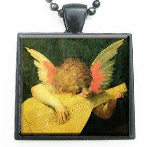 Angelic Musician by Giovanni Rosso Fiorentino Glass Black Tile Pendant with Black - Glasses Giovanni