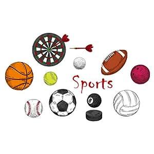 Amazon.com: Amosfun Sports Wall Decals Basketball Football