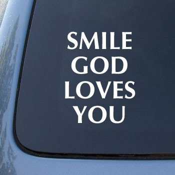 SMILE GOD LOVES YOU - Car, Truck, Notebook, Vinyl Decal Sticker #2165 | Vinyl Color: White]()
