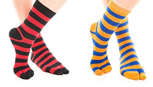 V-Toe Orange Blue & Black Red Striped Flip Flop Tabi Socks (2 Pairs) ()