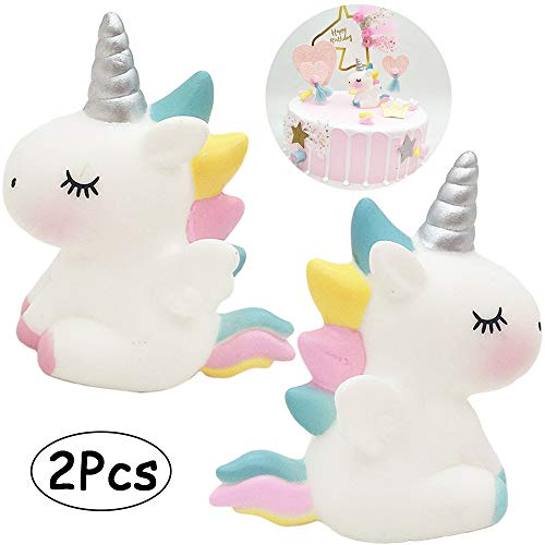 Unicorn Cake Decorations 2 Pcs Unicorn Cake Toppers Kids Unicorn Birthday Party Accessories Favors Cute Angel Wings Unicorn Cupcake Topper Set Toys for Baby Shower Wedding Party Supplies Blue & -