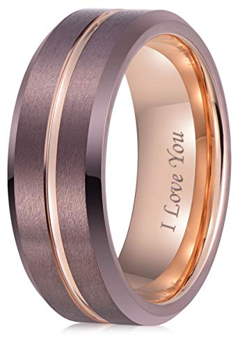 - LaurieCinya Tungsten Carbide Ring Men Women Wedding Band Engagement Ring 8mm Comfort Fit Engraved 'I Love You'