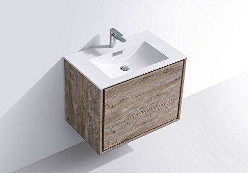 "De Lusso 30"" Nature Wood Wall Mount Modern Bathroom Vanity -  - bathroom-vanities, bathroom-fixtures-hardware, bathroom - 4150LIs0NRL -"