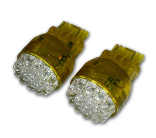 TuningPros LEDFS-3157-A19 Front Signal LED Light Bulbs 3157, 19 LED Amber 2-pc Set