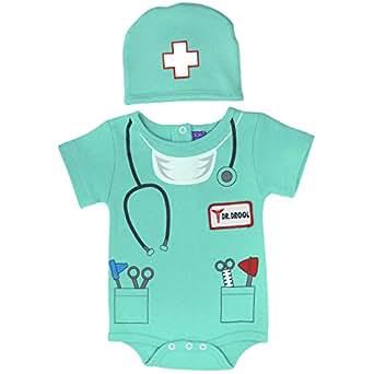 Sozo Unisex-Baby Newborn Doctor Bodysuit and Cap Set, Green, 0-3 Months