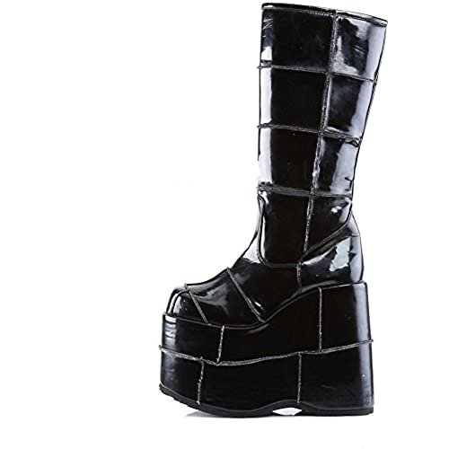 Men's Demonia Stack-301 Platform Knee Boot Black Patent 30%OFF