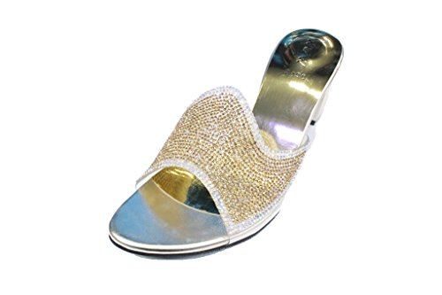 Holiday SAN2198 W Sandals Dressy Womens amp; On Heel Block Party Slip Gold Low Diamante Shoes W Evening ZqvxRw