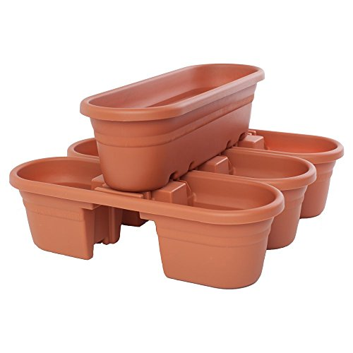 Bloem Milano 21 in. Rail Planter - Terra Cotta - Set of 4 by Bloem