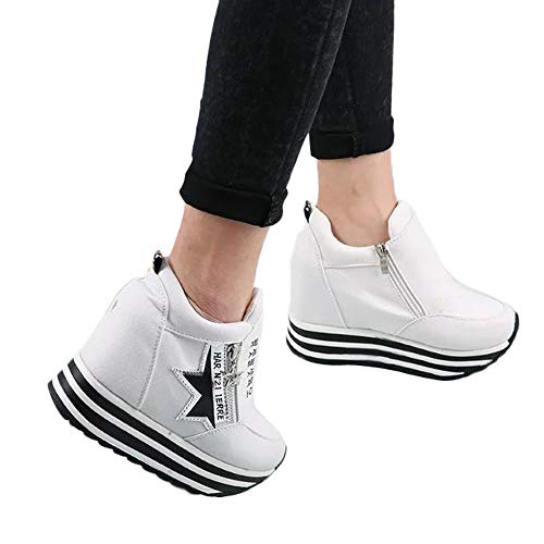 Fitfulvan Clearance,Women's Boots Casual Sneaker High-top Thick Bottom Sport Ladies Shoes(White,5.5)