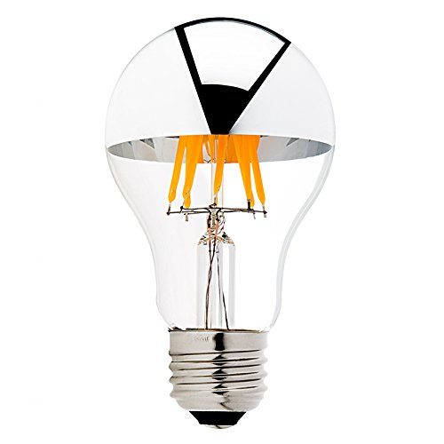 Century Light A19 8W Edison Style LED Dimmable Bulb - Silver Tipped LED Filament Light Bulb - 75 Watt Equivalent - Warm White 2700K - E26 Medium Base Lamp - 4Packs