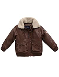 marc janie Baby Toddler Boys' Military Flight Leather Bomber Jacket