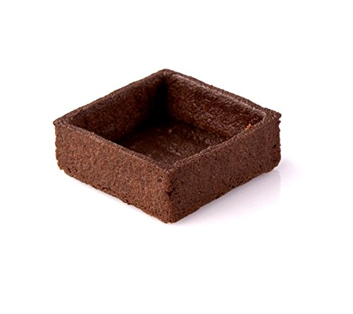 Chocolate Square Tart Shell Straight Edge Coated Inside with Cocoa Butter - 2''x2'' - 100 pces