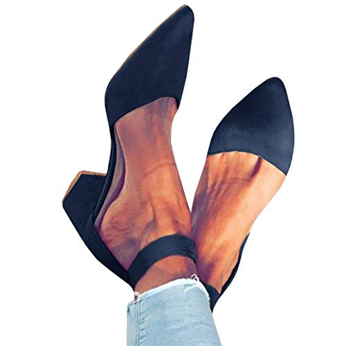 FISACE Womens Low Mid Square Heel Ankle Strap Sandal Office Ladies Pointed Toe Pumps Shoe Navy