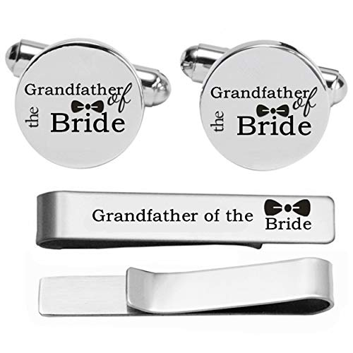 Kooer Custom Personalized Wedding Engraved Cuff Links Tie Clip Set Engrave Wedding Cufflinks Jewelry Gift (Grandfather of The Bride Set)