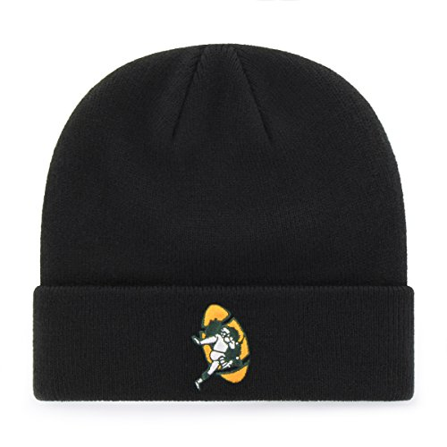 (OTS NFL Green Bay Packers Legacy Raised Cuff Knit Cap, One Size, Black)