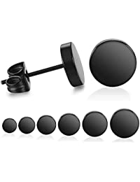 Black Round Stud Earrings Set Stainless Steel Ear Studs for Men Women 6 Pairs 3mm-8mm … (Black)