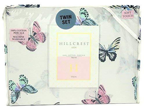 Hillcrest Kids Colorful Butterflies Twin Size Cotton Sheet Set