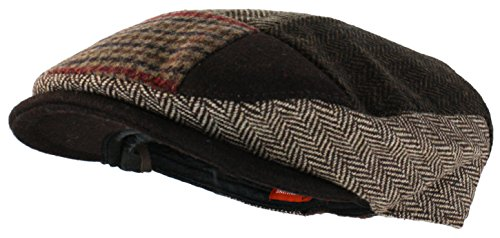 Ted and Jack - Tweed Patchwork Newsboy Driving Cap With Quilted Lining in Brown-Small/Medium