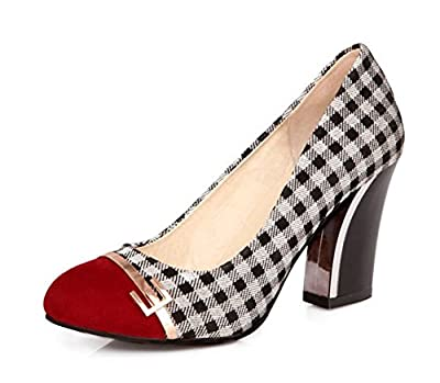 Aisun Women's Classic Checkered Dress Block High Heels Pumps Shoes