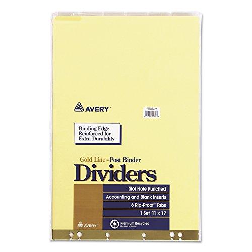 Avery 11644 Post Binder Insertable Tab Dividers, 6-Tab, 11 x 17 ()