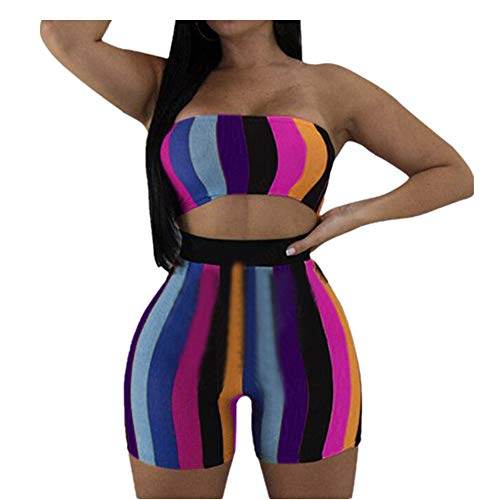 Ufo Capri Shorts - Womens 2 Piece Outfits Jogging Suits Rainbow Stripe Sleeveless Tube Crop Tops Tummy Control Workout Running Leggings Bodycon Shorts