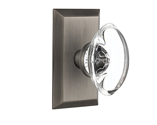 Nostalgic Warehouse Studio Plate with Oval Clear Crystal Glass Knob, Single Dummy, Antique Pewter