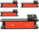 4x LCL Beauty Red Locking Wall Mount Styling Station with Black Metal Tabletop Appliance Holder & 4 Port Power Strip
