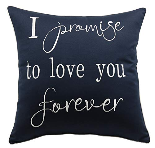 YugTex Pillowcases I Promise to Love You Forever Embroidered Throw Pillow Cover,Valentine's Gift,Bridal Quote,Decorative Pillowcase,Wedding Anniversarygifts(18
