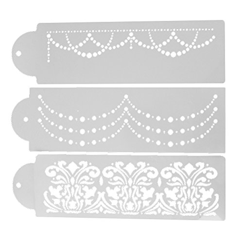Whitelotous Plastic Cake Cookie Fondant Side Baking Stencil Wedding Decor Mold Tool (Type (Wedding Baking)