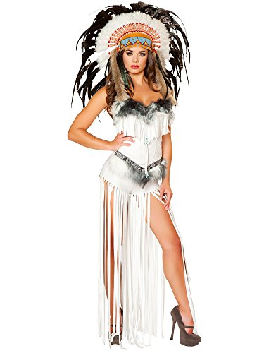Roma Costume Women's 2 piece Cherokee Mistress, White, Small - Roma Indian Costume