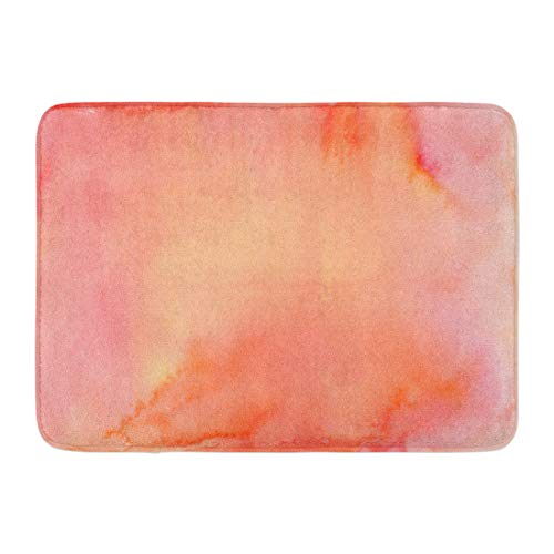 Emvency Doormats Bath Rugs Outdoor/Indoor Door Mat Peach Watercolor in Shades of Pink Orange and Yellow Coral Color Salmon Bathroom Decor Rug Bath Mat 16