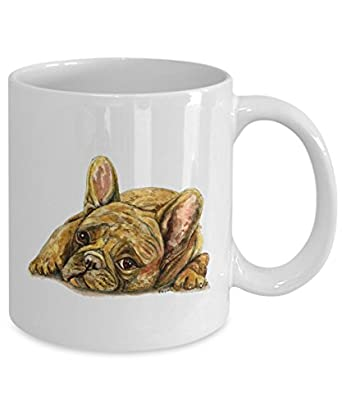 Tan/Brown French Bulldog Mug - Style No.4 - Cute Ceramic Frenchie Coffee Cup (15oz)
