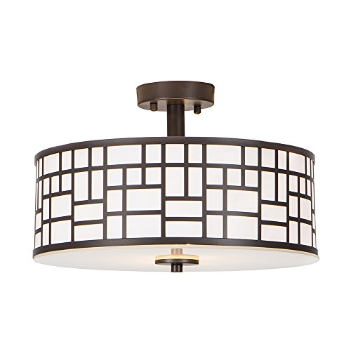 Elegant Semi Flush Lighting (Glanzhaus Modern 13 Inches White Acrylic Glass Diffuser Oil-Rubbed Bronze Finish Flush Mount Ceiling Light, Ceiling Lamp For Living Room Bedroom)