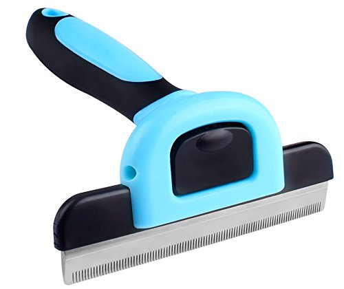 Soft Shedding Blade (Aspen5 DeShedding Brush & Grooming Tool w/ FREE e-book for Dogs Cats & Pets - W/ 4