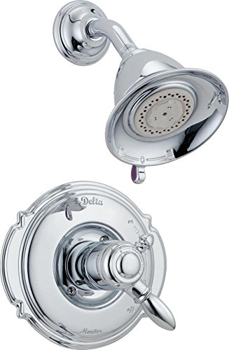 Delta Faucet Victorian 17 Series Dual-Function Shower Trim Kit with 2-Spray Touch-Clean Shower Head, Chrome T17255 (Valve Not -