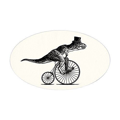 CafePress - T-Rex on a Penny Farthing (White Ba Sticker (Oval) - Oval Bumper Sticker, Euro Oval Car Decal