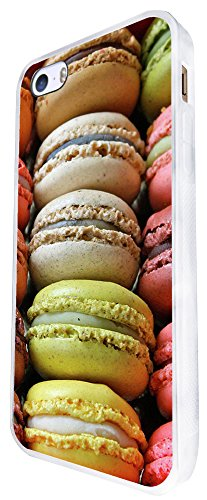 939 - Cool Cute Fun Colourful Macaroons Tasty Food Sweetie Candy Coconut Bakery Design iphone SE - 2016 Coque Fashion Trend Case Coque Protection Cover plastique et métal - Blanc