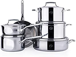 SAVEUR SELECTS 11-piece Tri-ply Stainless Steel Cookware Set, 6 Essential Pots and Pans, 5 Interchangeable Lids,...