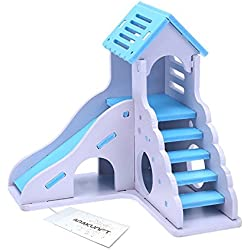 Hamster Toy, Small Animals DIY Wood House with Slide, Pet Castle Cage Dwarf Hamster Nest