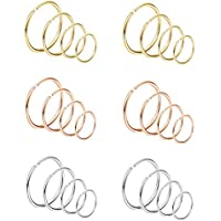 Jstyle 24Pcs 20G Nose Rings Hoop 316L Stainless Steel Fake Nose Ring Tragus Cartilage Helix Piercing Earring Hoops Septum Ring 6-12MM