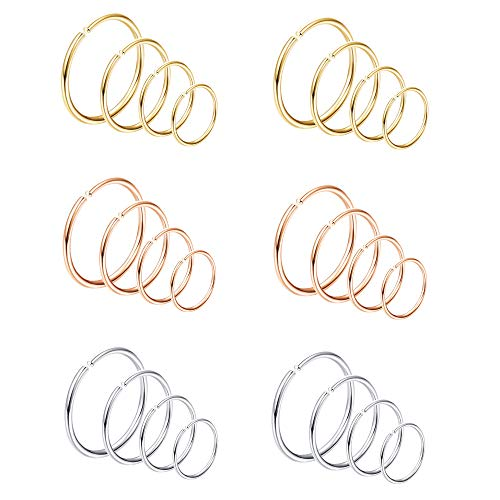 Jstyle 24Pcs 20G Nose Rings Hoop 316L Stainless Steel Fake Nose Ring Tragus Cartilage Helix Piercing Earring Hoops Septum Ring 6-12MM -