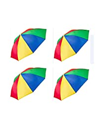 EAST-F Umbrella Hat (Pack of 4) - 20 Inch, Hands Free, Funny Rainbow Colorful Beach Party Hats, Adjustable Size Fits All Ages, Kids, Men & Women
